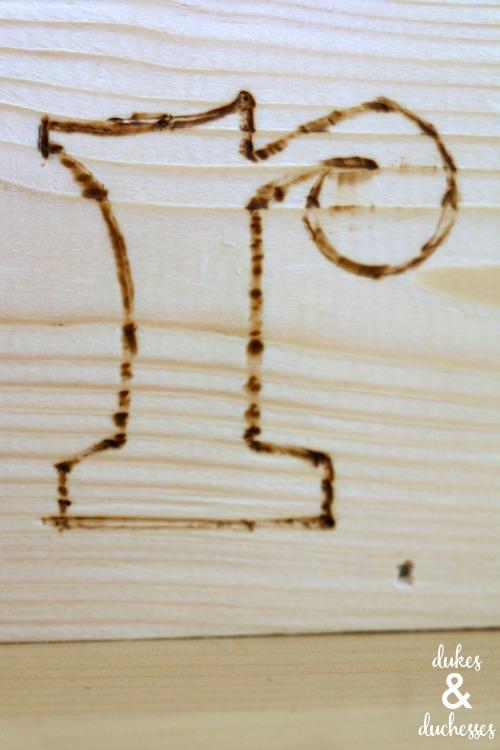wood burned monogram on wood box