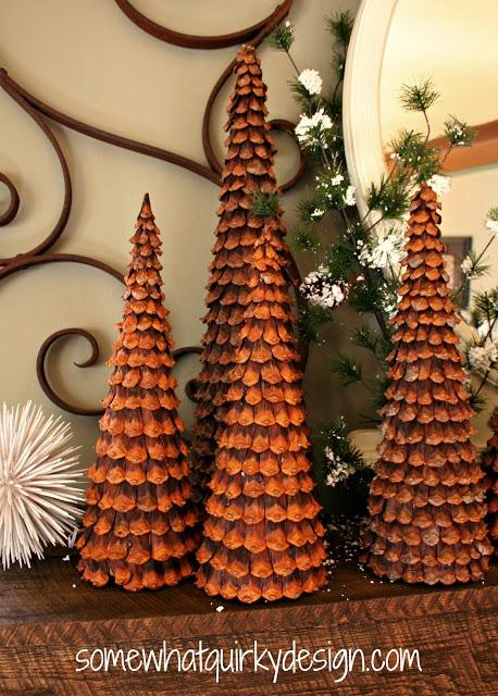 DIY pinecone topiaries