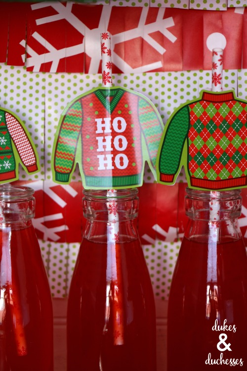 DIY ugly christmas sweater straw toppers