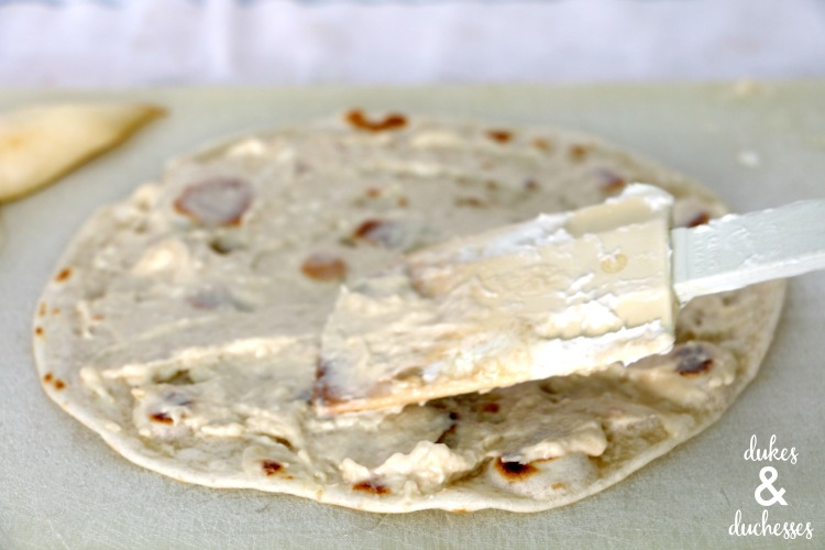 cheesecake filling on tortilla