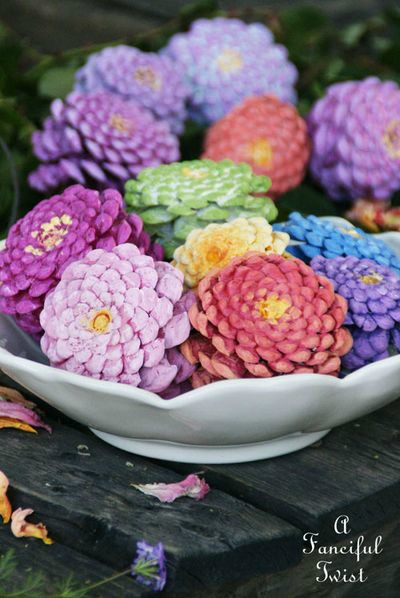 colorful DIY zinnia pinecones