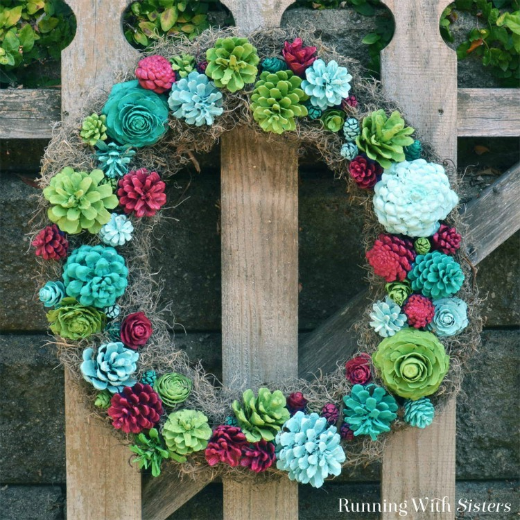 colorful faux succulent wreath made with pinecones