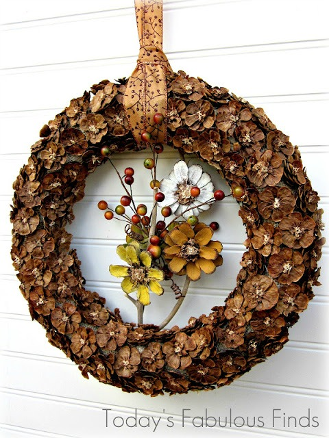 fall pinecone flower wreath