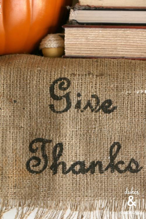 give thanks burlap runner