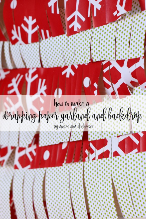 how to make a wrapping paper garland and backdrop