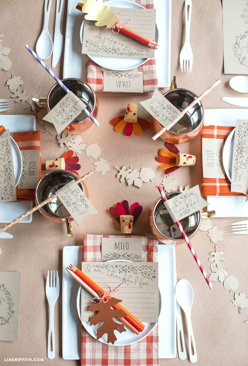 kids thanksgiving table printables