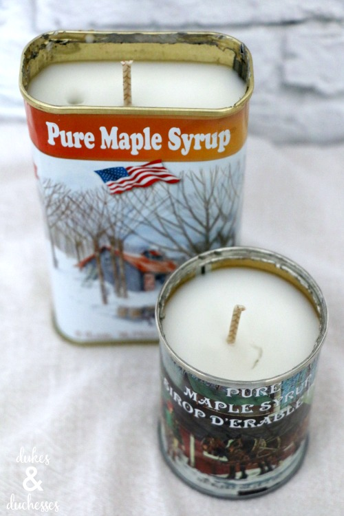 DIY candles in maple syrup cans
