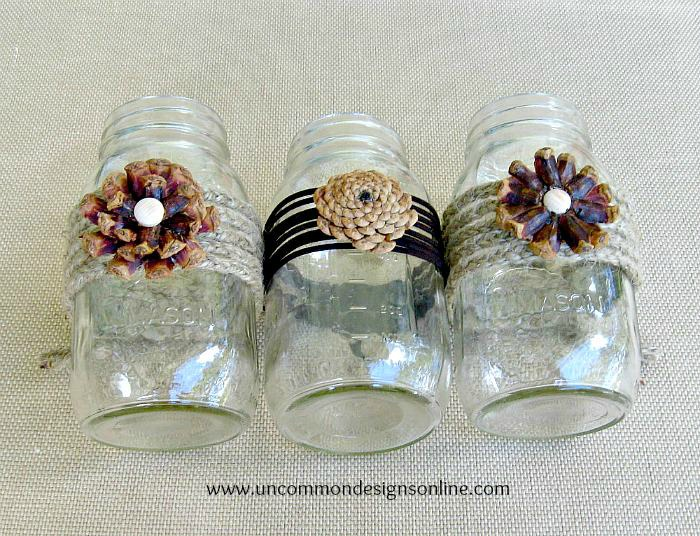 pinecone embellished mason jars