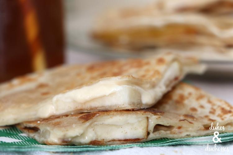 slices of pear cheesecake dessert quesadilla