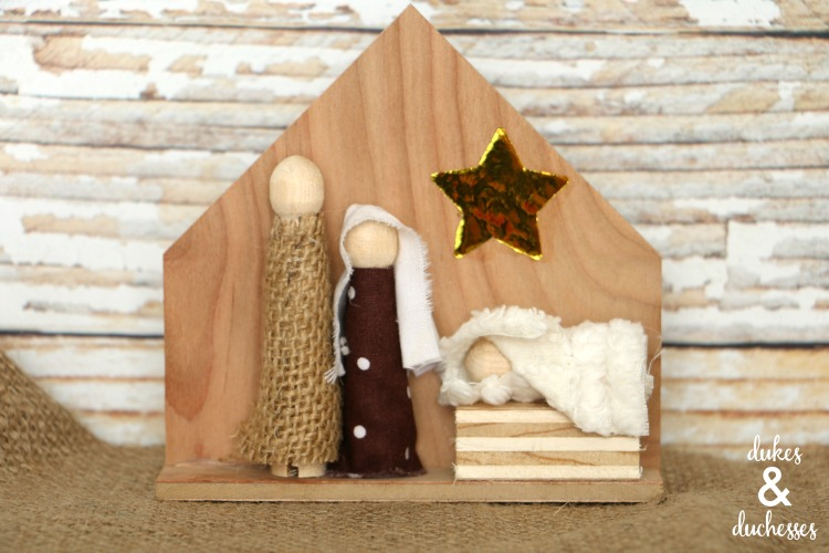 rustic DIY wood nativity scene