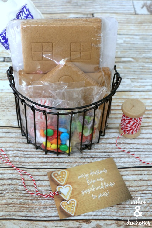 gingerbread house kit in basket