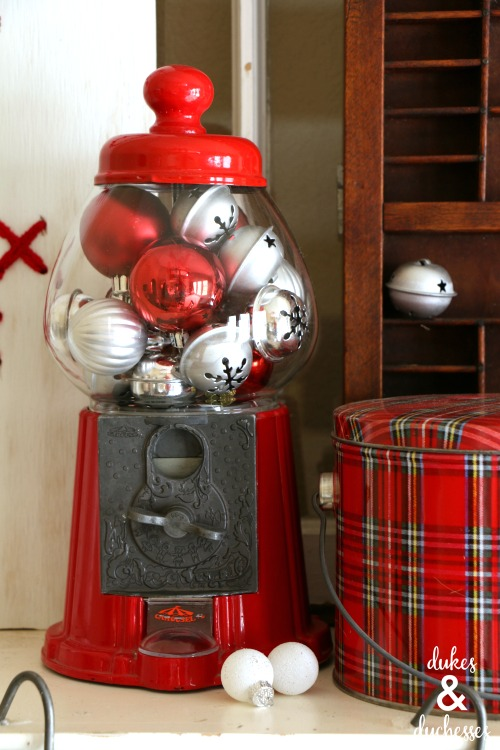 gumball machine with christmas ornaments