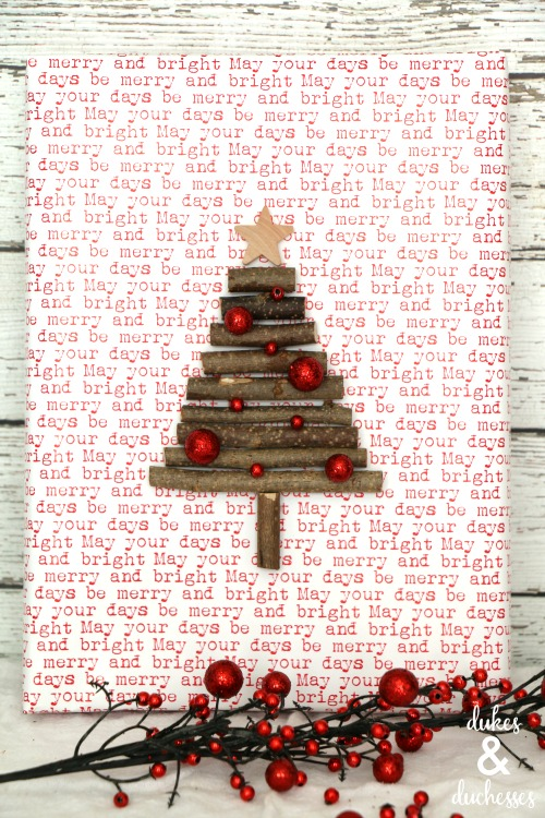 rustic christmas tree gift wrap