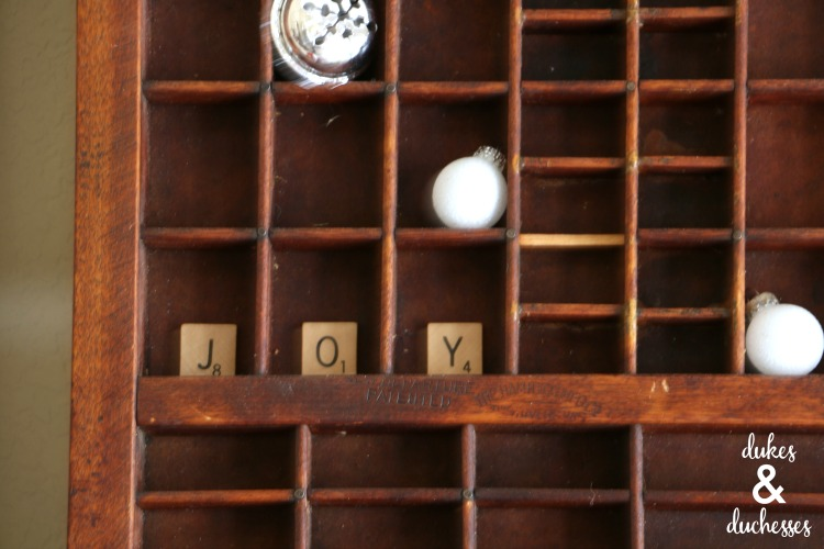 scrabble letters in vintage letterpress drawer