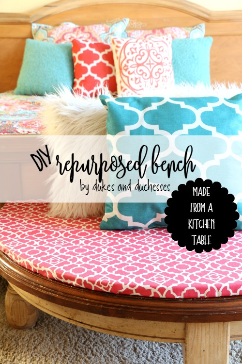 DIY repurposed bench made from kitchen table