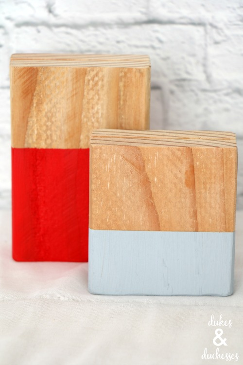 color blocked wood photo holder