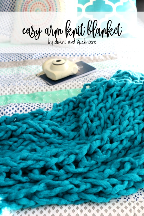 easy arm knit blanket