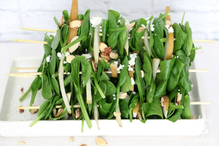 pear spinach salad sticks
