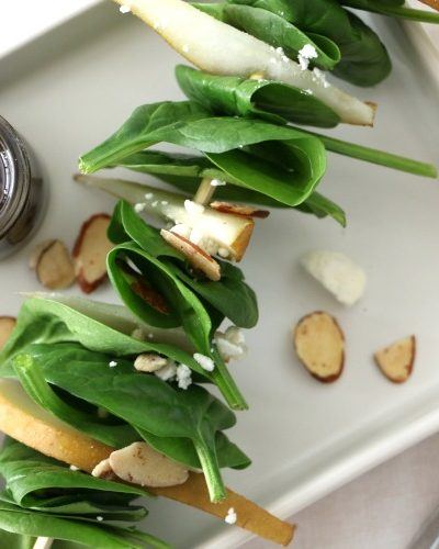 Spinach and Pear Salad on a Stick