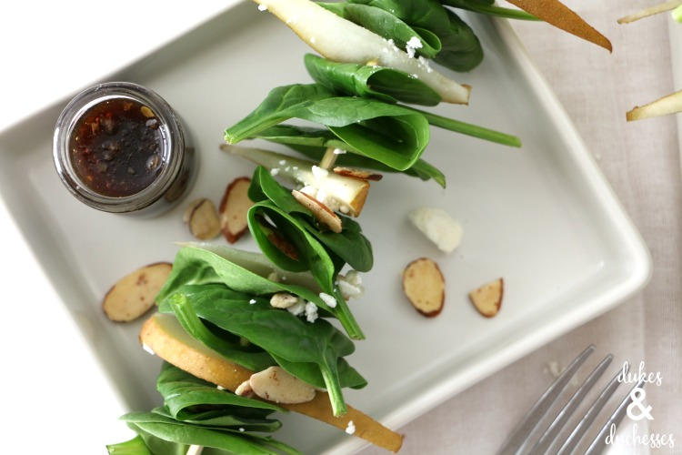 spinach and pear salad on skewers