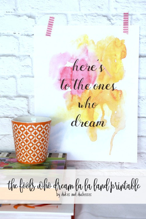 the fools who dream la la land printable