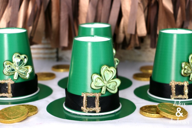 upcycled cups and plates made into leprechaun treat cups