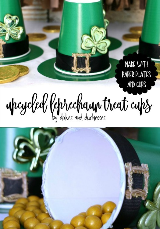 upcycled leprechaun hat treat cups made with paper plates and cups