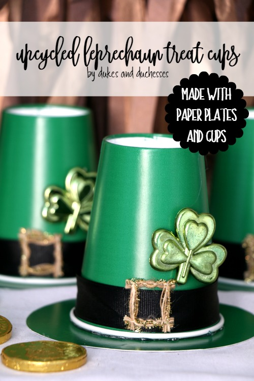 Upcycled leprechaun treat cups made with paper plates and cups by Randi Dukes