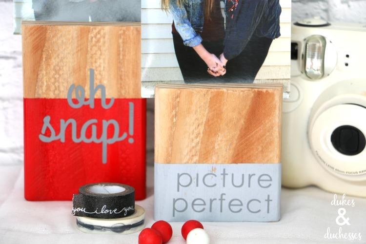 vinyl embellished wood photo block