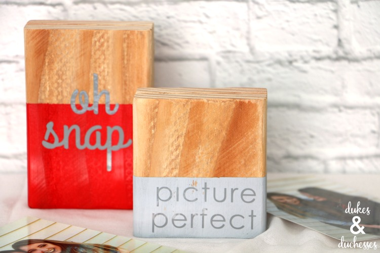 vinyl words on wood photo block