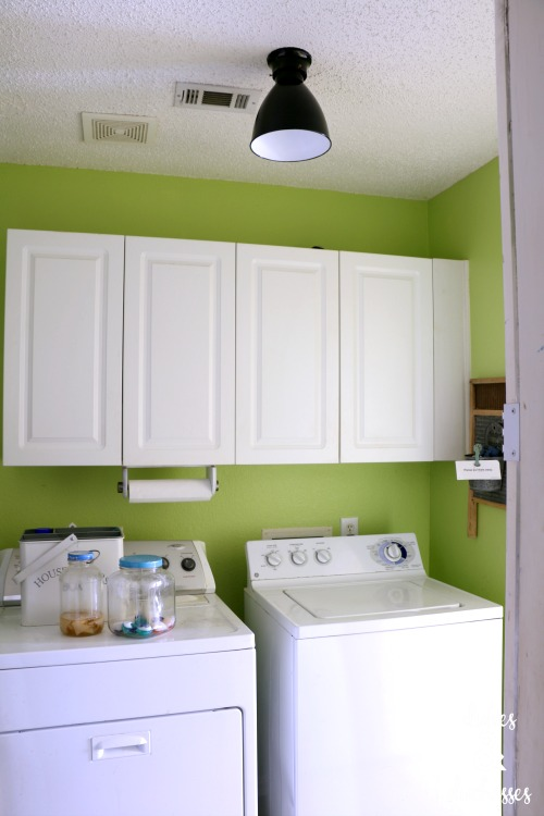 west elm thrift store light fixture for the laundry room
