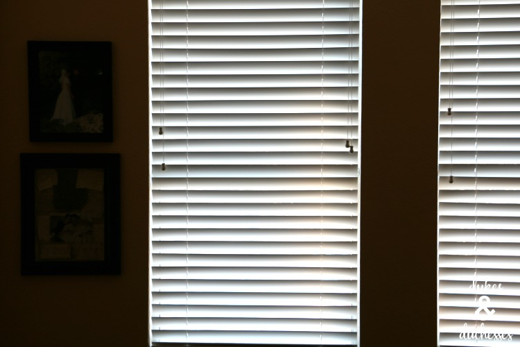 white wood slat blinds