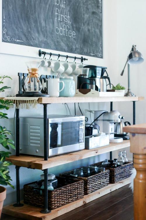 DIY black pipe coffee bar