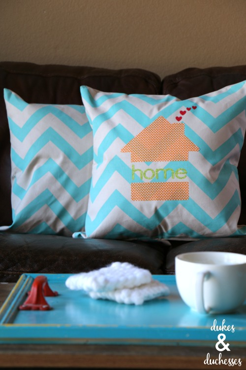DIY no sew appliqued home pillow