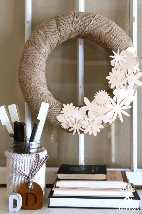 DIY wood veneer floral wreath