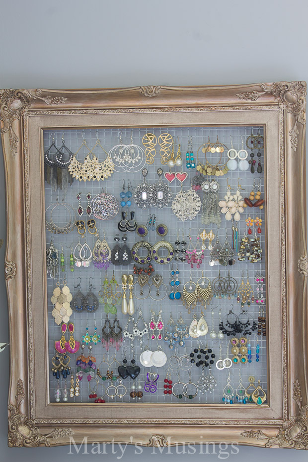 repurposed chicken wire frame earring holder