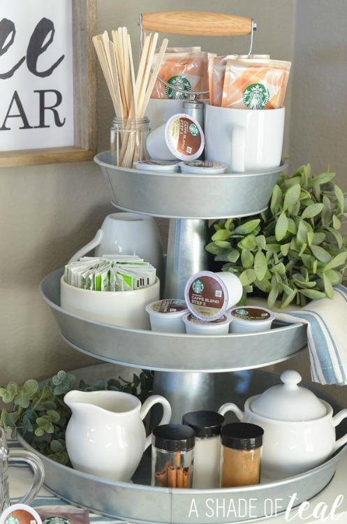 tiered tray coffee bar
