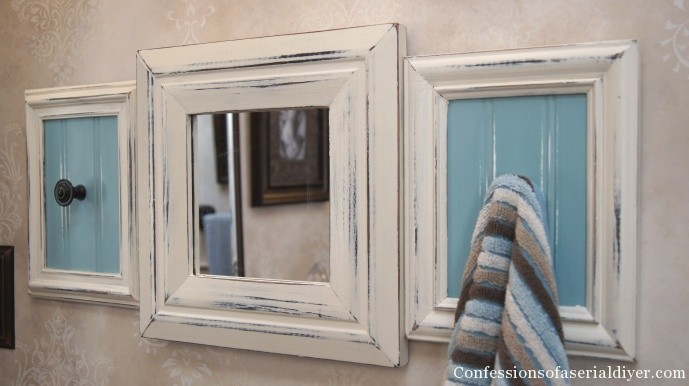 upcycled frame towel rack