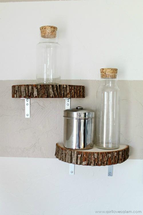 wood slice shelf tutorial