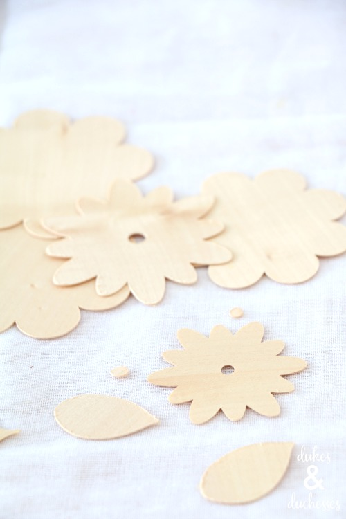 cut wood veneer flowers