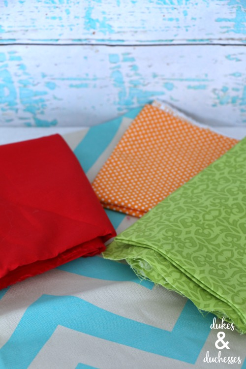 fabric scraps and pillow cover