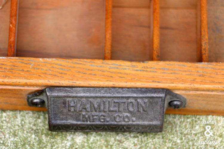 hardware on vintage letterpress drawer