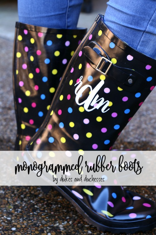 monogrammed rubber boots