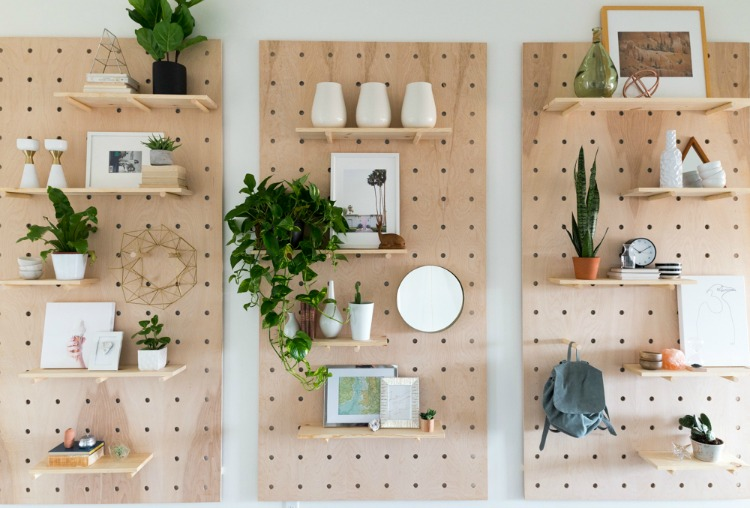 DIY pegboard shelf unit