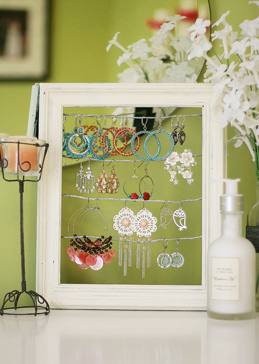 repurposed wire earring display made from a frame