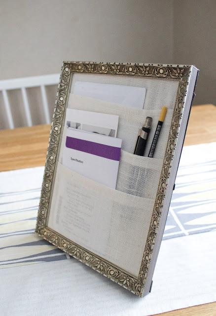 thrifted frame desk organizer