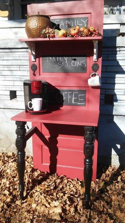 upcycled door coffee bar