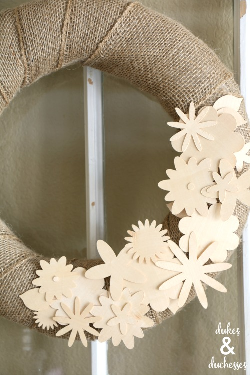 wood veneer flowers on wreath