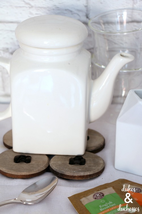 wooden button and ribbon trivet