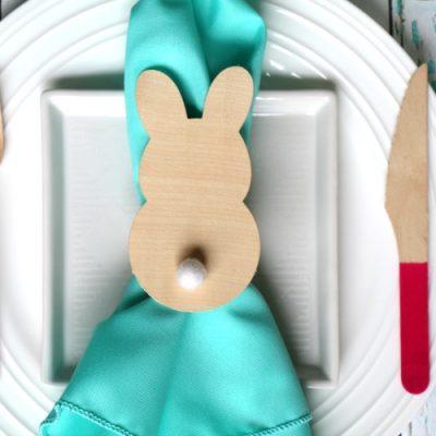 Wood Veneer Bunny Napkin Rings
